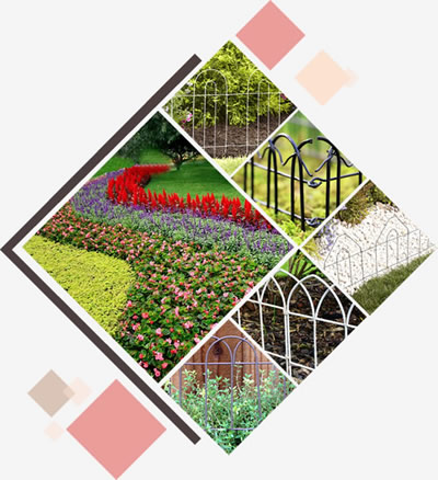 Five different kinds of garden border folding fence surround beautiful flower beds.