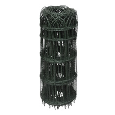 A roll of black PVC coated galvanized wire mesh garden border fence.