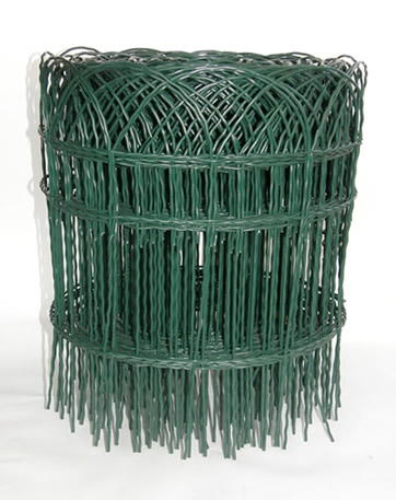 Short Green PVC Coated Garden Fence Weaves By Horizontal Double Twisted  Wires And Vertical Wavy Wires