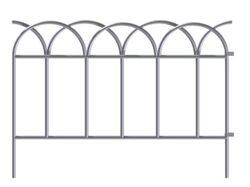 A piece of white looped lawn edging garden border fence with two holes.