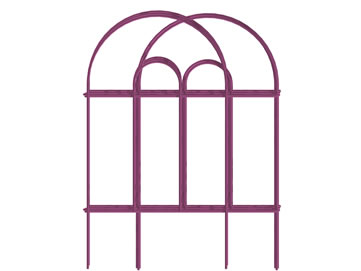 Six pieces of short overlapped pink garden border double round folding fence.