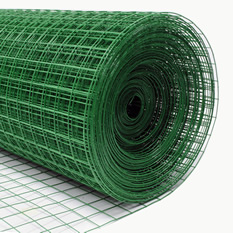 A roll of green PVC coated galvanized garden border fence with some unfolded part is lying on the white background.