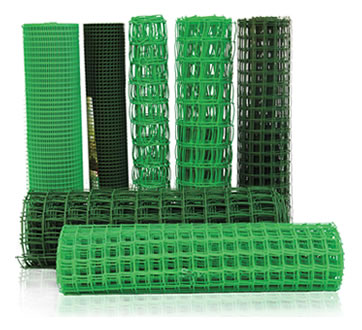 seven rolls of square holes plastic garden fence three sizes are dark green and four