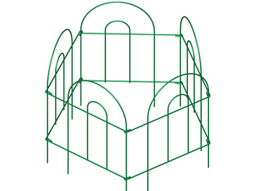 Five pieces of short green folding fence encircle to form a small space.