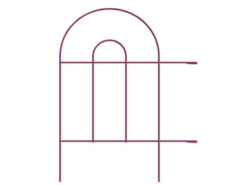 A piece of short pink garden border double round folding fence with two hooks at the end of arms.