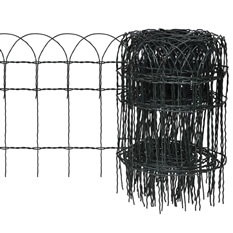 A roll of short black PVC coated garden fence with unfolded part and it has long spikes.