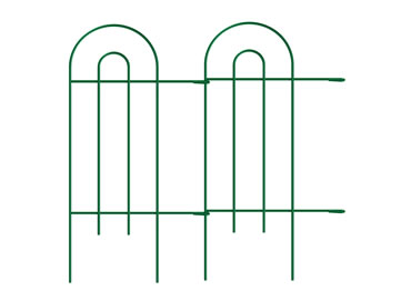 Two pieces of tall green folding fence connect together, it has double arched tops, a small arched top inside of the big arched top.