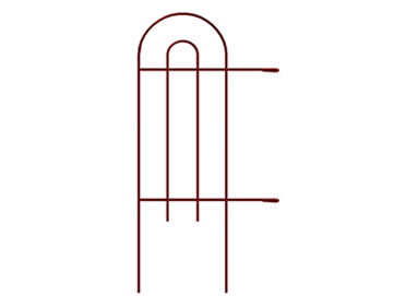 A piece of tall red garden border double round folding fence with two hooks at the end of arms.