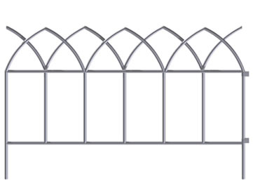 A piece of white peak shaped top garden border fence with two holes.